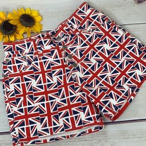 British Flag High Wasted Button Fly Ladies Shorts